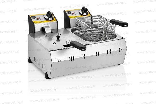 friggitrice elettrica doppia vasca 8+8 lt